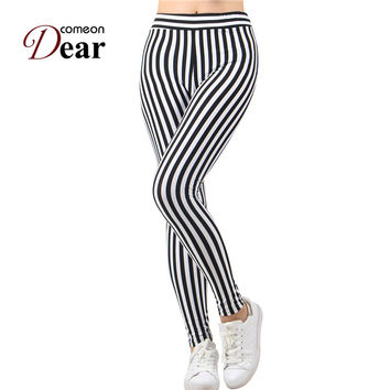 TB2365 Black and white vertical stripes leggings low waist drop shipping leggings 2017 new recommend fashion women leggings hot