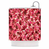 """Ebi Emporium """"WILD THING, RED PINK"""" Red Pink Animal Print Abstract Watercolor Mixed Media Shower Curtain"""