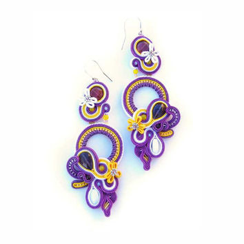 CHRISTMAS SALE 30%, Soutache Earrings, Purple Yellow, Purple Earrings, Handmade, Statement Jewelry, Dangling Earrings, Long Earrings,
