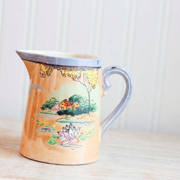 Vintage Iridescent Lusterware Creamer - Asian Peach Pitcher JAPAN