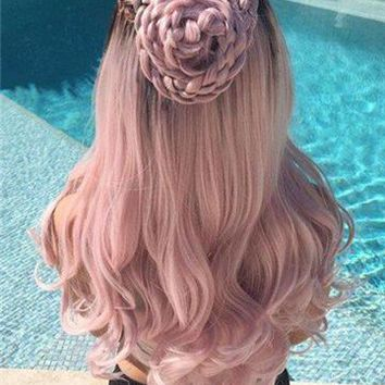Dusty Rose Light Pink Wave Synthetic Lace Front Wig