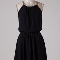 Black Dress with Rhinestone Detail