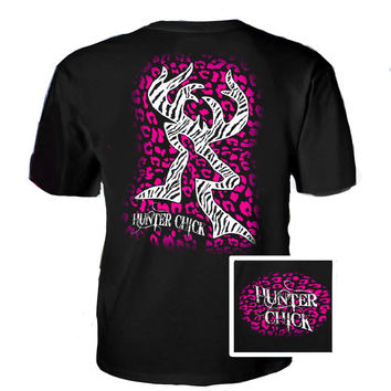 Country Life Outfitters Hunter Chick Black & Pink Cheetah Deer Head Hunt Vintage Bright T Shirt