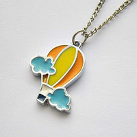 SALE! hot air balloon enamel pendant necklace