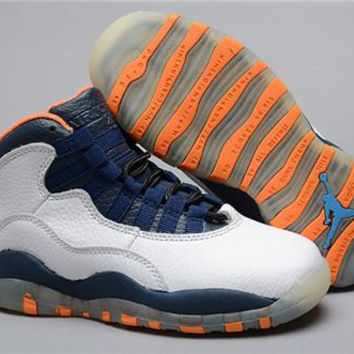 New Air Jordan 10 Retro Kids Shoes White Navy Orange