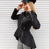 Faux leather PU jackets coats female jackets Women casual zipper streetwear black jackets femme