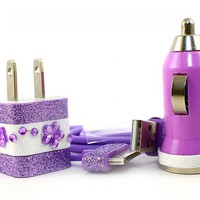 READY TO SHIP Purple & White iPhone Car Charger, Wall Charger and Cable for iPhone
