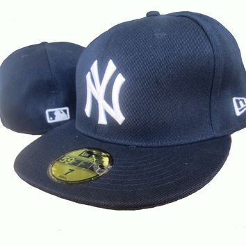LMFON New York Yankees New Era MLB Authentic Collection 59FIFTY Hats Blue-White