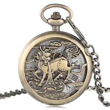 Kylin Carving Hollow Automatic Mechanical Pocket Watch Men Luxury Copper Steampunk Fob Watches Pendant Gift Fashion Clock 2017