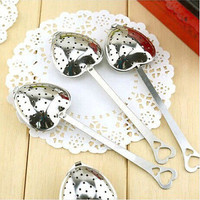 Heart Shape Stainless Steel Tea Infuser Spoon Strainer Steeper Handle Shower US