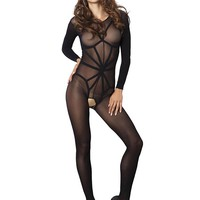 Leg Avenue Female 2 PC. Opaque Long Sleeved Bodystocking With Harness Teddy Overlay 89151