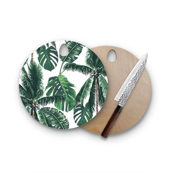 Shady Palm Trees Round Cutting Board Trendy Unique Home Decor Cheese Board
