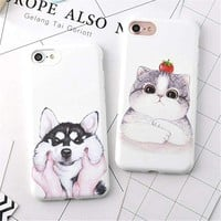 For Iphone 7 6 Cases Candy Cartoon Husky Dog Cat Soft Tpu Rubber Silicon Case Cover For Iphone 7