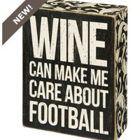 "Primatives by Kathy "" Wine Can...Football"" Wall Sign"