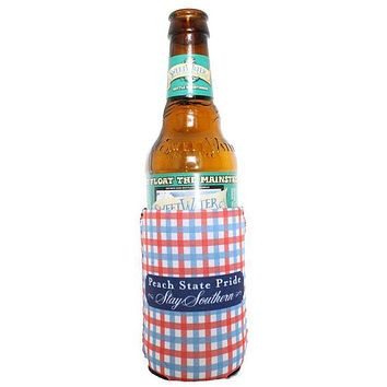 Gingham Can Holder in Red & Blue by Peach State Pride