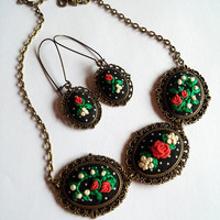 Jewelry Set of Two, Dangle Earrings, Statement Necklace, Floral Jewelry