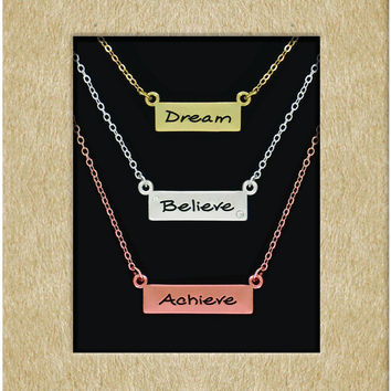 brushed bar necklace - dream, believe, achieve Case of 12