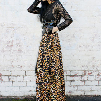 ADELE PSYCH ' Femme Fatale' Glam Goth Rock Metal style Black Shiny  PVC and Leopard Print High Waist Lace Up Long Skirt
