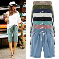 Womens Drawstring Elastic Waist Knee Length Shorts