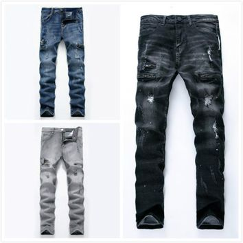 Men Jeans Washed Light Gray Moto Elastic Denim Pants Ripped Rider Biker Jeans Retro Motorcycle Hip Hop Slim Fit Plus Size 28-42
