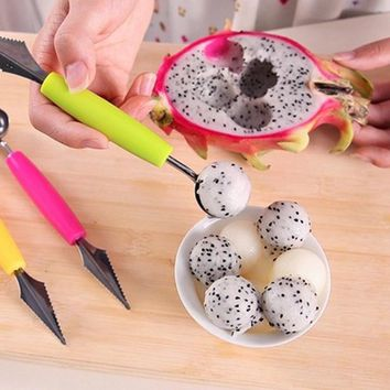 Fashion Multi Function Stainless Steel Fruit Carving Ice Cream Scoop Spoon Kitchen Gadgets Cooking Tools
