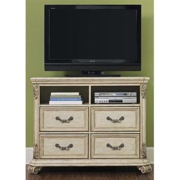 Liberty Furniture Messina Estates 4 Drawer Media Chest in Antique Ivory Finish