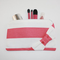Cosmetic Case / Zipper Pouch - Candy Pink and White Stripe with Side Bow