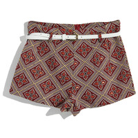 ROMWE | Retro Embroidered Red Shorts, The Latest Street Fashion