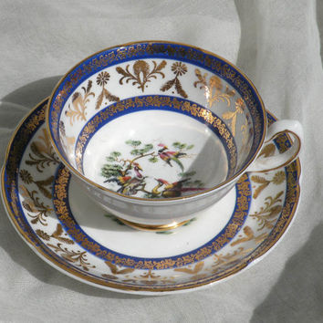 English Royal Grafton fine bone china cup and saucer, vintage cup and saucer, decorative cup and saucer, tea cup and saucer, decorative