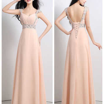 V-neck Prom Evening Homecoming Cocktail Ball Gown Dress Chiffon Custom Made {Free Shipping}