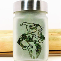 Harley Quinn Etched Glass Storage & Stash Jar - Batman and Suicide Squad Collectible Gift