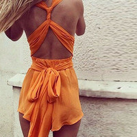 Orange Sleeveless Backless Playsuit