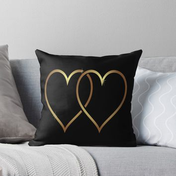 'Gold Hearts On Black Background' Throw Pillow by Dizzydot