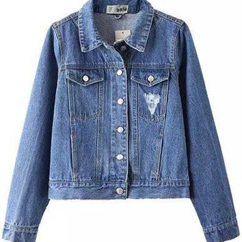 Classic Denim Cropped Jacket with Twins Pockets Jean Blue