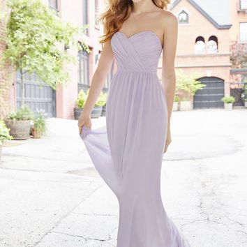 Hayley Paige Occasions 5762 Strapless Chiffon Maxi Bridesmaids Dress