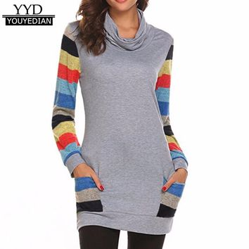 Long Style Casual Tshirts Womens 2017 Autumn Patchwork Striped Long Sleeve Cowl Neck Pocket Tops Tee Female Camiseta Mujer *1201
