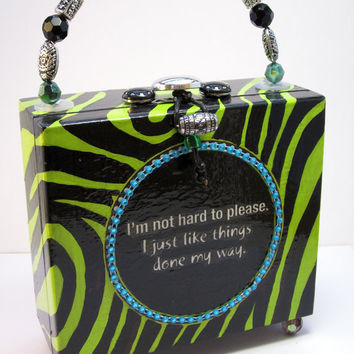 Cigar Box Purse Lime Green Zebra Napkin by handartdesignstudios