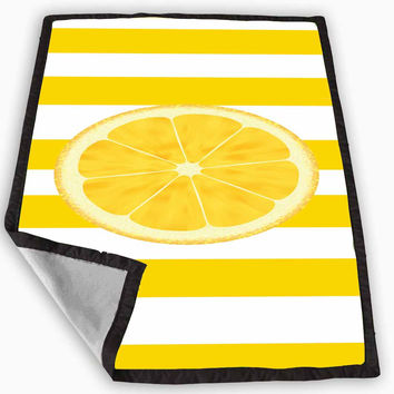 Yellow White Stripes with a LEMON Blanket for Kids Blanket, Fleece Blanket Cute and Awesome Blanket for your bedding, Blanket fleece *