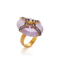 Amethyst Oval & CZ Cross Ring