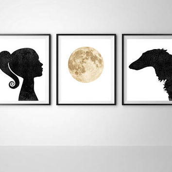 Girls room decor, Borzoi dog print, Triptych girly art, Dog print, Girl print, Printable art, Digital print, Moon print, Set of 3 print