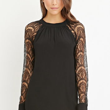 Self-Tie Back Lace-Paneled Blouse