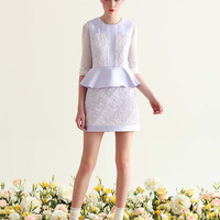 Floral Pattern Sleeveless Peplum Dress