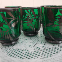 5 Vintage green shot glasses with silver-tone detailing. Venetian glass.