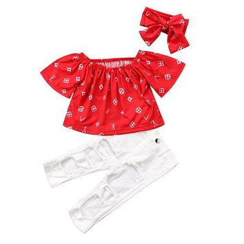 Kids Baby Girls Off Shoulder T shirt Tops+ Hole Stretch Pants +Headband 3pcs Outfits Set Clothes