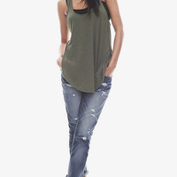 ONE ELEVEN RACERBACK TUNIC TANK - OLIVE from EXPRESS