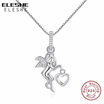 ELESHE  100% 925 Sterling Silver Love angel heart wing silver Pendant Necklace women girl lady gift