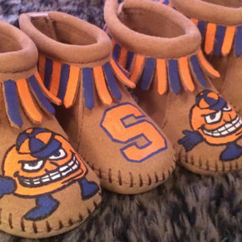 Custom Hand Painted Syracuse Otto Orange Baby Moccasins