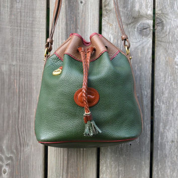 Vintage Teton Dooney & Bourke Green and Brown Drawstring Leather Bucket Purse