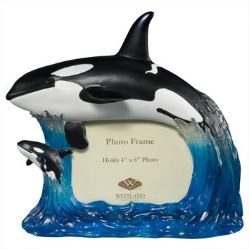 Mother Killer Whale and Calf Orca Picture Frame