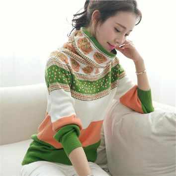 Clothes Cashmere Women Knitwear S-3XL Autumn Vintage Fashion Turtleneck Sweaters Long Sleeve Warm Pullover Sweater 62837